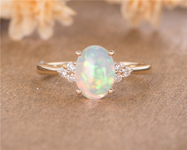 Oval Cut Natural Opal Engagement Ring Yellow Gold Bridal Cluster October Birthstone Half Eternity Diamond Ring