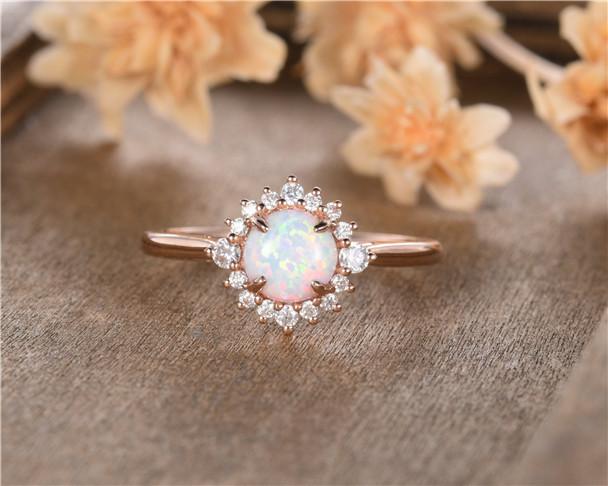 Rose Gold Opal Engagement Ring Round Cut Diamond Halo Eternity Unique Birthstone Bridal Wedding Ring