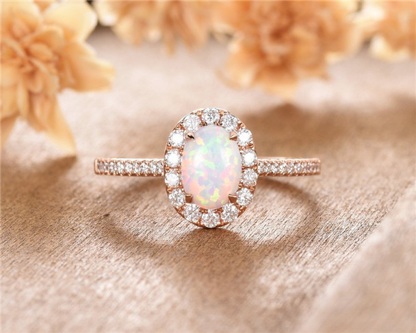 Lab Opal Engagement Ring Rose Gold Oval Cut Moissanite Halo Half Eternity Wedding Ring Vintage Promise Ring