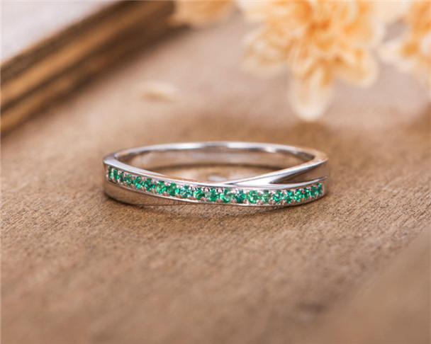 Emerald Wedding Band Infinity White Gold Women Eternity Stacking Matching Bridal Anniversary Ring Unisex Ring
