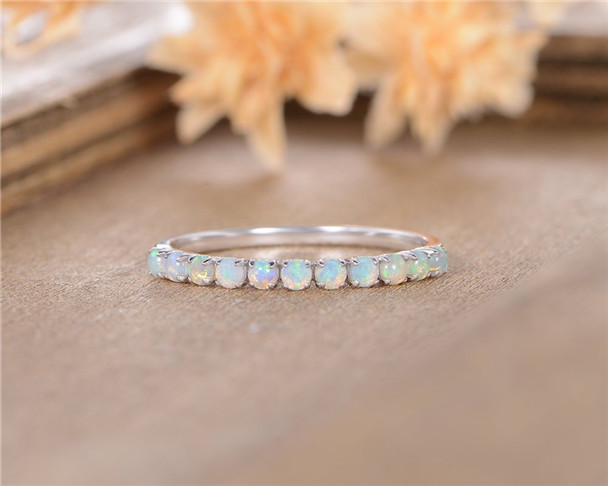 Opal Wedding Band Women White Gold October Birthstone Anniversary Gift Promise Ring