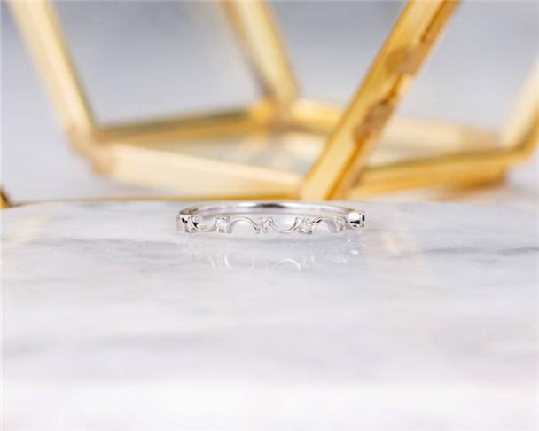 White Gold Wedding Band Art Deco Diamond Bridal Wedding Ring Delicate Dainty Stacking Ring