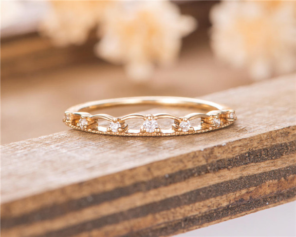 Cluster Diamond Ring Eternity Wedding Band Women Yellow Gold Stacking  Matching Delicate Bridal Ring 8b175e482be7