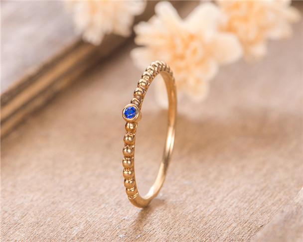 Beaded Sapphire Wedding Band Yellow Gold Eternity Stacking Matching Bezel Set Dainty Wedding Bridal Ring