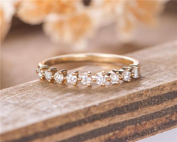Eternity Diamond Band Wedding Band Women Minimalist Stacking Matching Ring Bridal Ring Yellow Gold