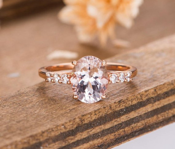 Morganite Engagement Ring Rose Gold Bridal Ring Solitaire Oval Cut Half Eternity Diamond Anniversary Ring