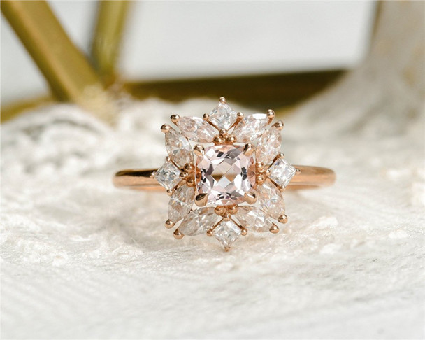 Cushion Cut Morganite Engagement Ring Rose Gold Halo Moissanite Promise Ring Antique Anniversary Gift