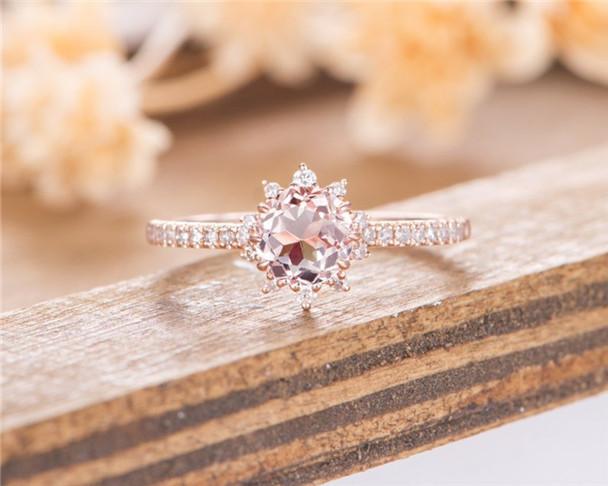 Morganite Engagement Ring Rose Gold Unique Halo Diamond Bridal Half Eternity Antique Wedding Ring