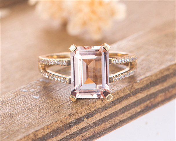 Morganite Engagement Ring Rose Gold Solitaire Emerald Cut Split Shank Diamond Bridal Ring Wedding Ring