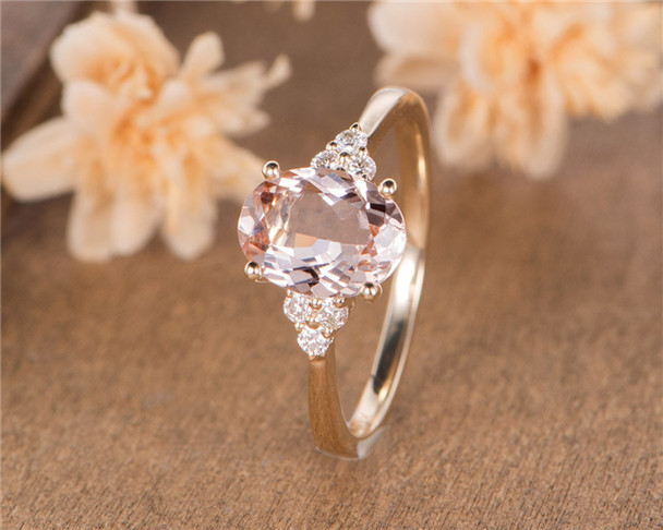 Morganite Engagement Ring Yellow Gold Bridal Ring Solitaire Oval Cut Half Eternity Diamond Antique Wedding