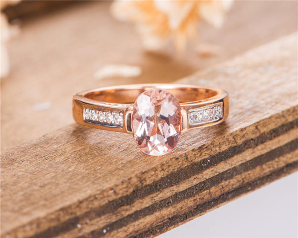 Morganite Engagement Ring Rose Gold Solitaire Oval Cut Bridal Women Ring Unique Wedding Ring Anniversary