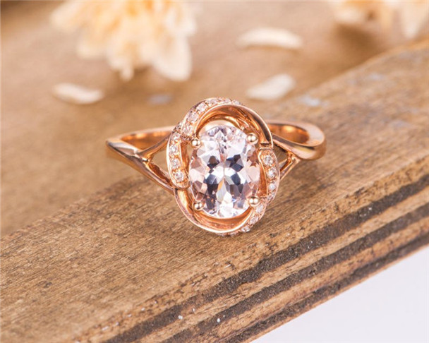 Morganite Engagement Ring Rose Gold Oval Cut Diamond Bridal Women Ring Unique Antique Wedding Ring