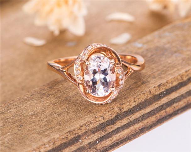 Morganite Engagement Ring Rose Gold Oval Cut Diamond Bridal Women