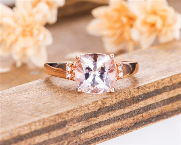 Morganite Engagement Ring Rose Gold Solitaire Cushion Cut Ring Diamond Antique Anniversary Women Ring