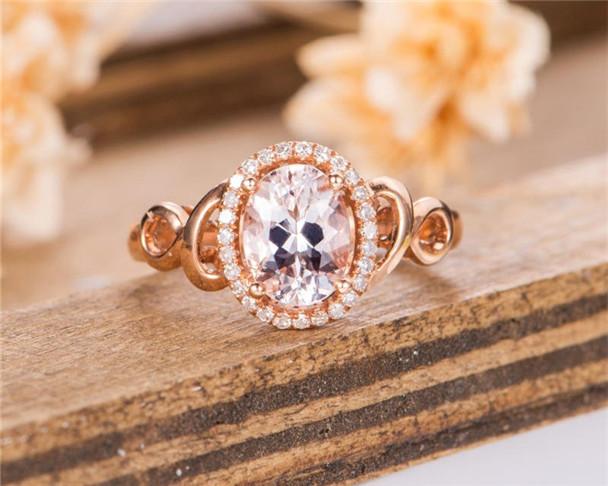 Morganite Engagement Ring Rose Gold Diamond Bridal Ring Art Deco Half Eternity Unique Wedding Ring Anniversary
