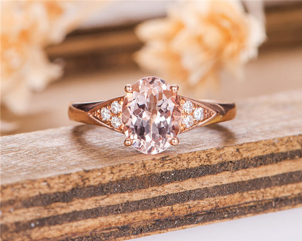7*9mm Oval Cut Peachy Morganite Engagement Ring Rose Gold Solitaire Diamond Ring Antique Anniversary Ring