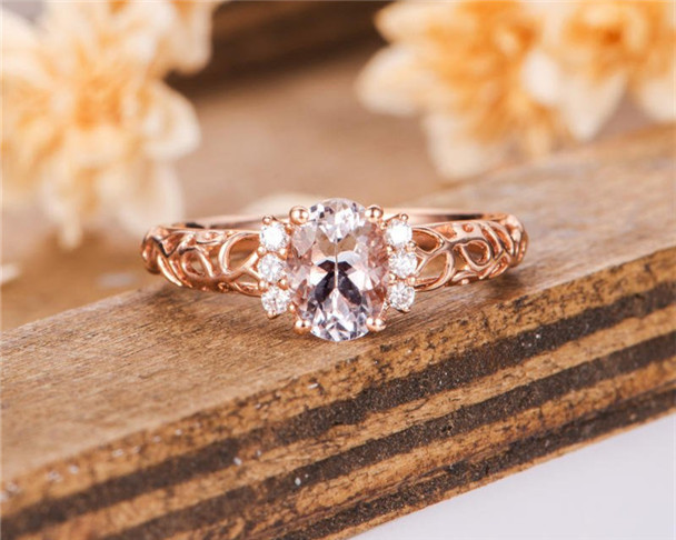 Morganite Engagement Ring Rose Gold Solitaire Diamond Bridal Ring Art Deco Antique Wedding Ring Anniversary