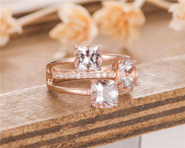 3 Cushion Cut Morganite Engagement Ring Rose Gold Solitaire Bridal Ring Unique Antique Anniversary Ring