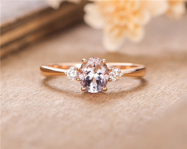 Oval Cut Morganite Engagement Ring Rose Gold Three Stone Solitaire Ring Bridal Women Ring Anniversary Gift