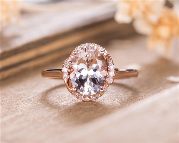 8*11mm Oval Cut Morganite Engagement Ring Rose Gold Halo Ring Bridal Ring Retro Anniversary Gift