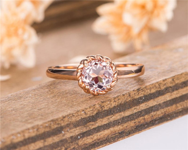 Rose Gold Morganite Engagement Ring Bridal Ring Bezel Set Solitaire Promise Women Anniversary Gift For Her