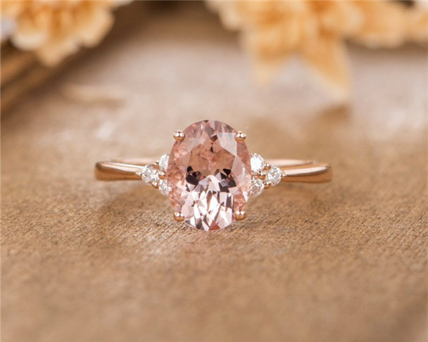 Simple Wedding Ring.Rose Gold Bridal Ring Oval Cut Morganite Engagement Ring Simple Women Anniversary Wedding