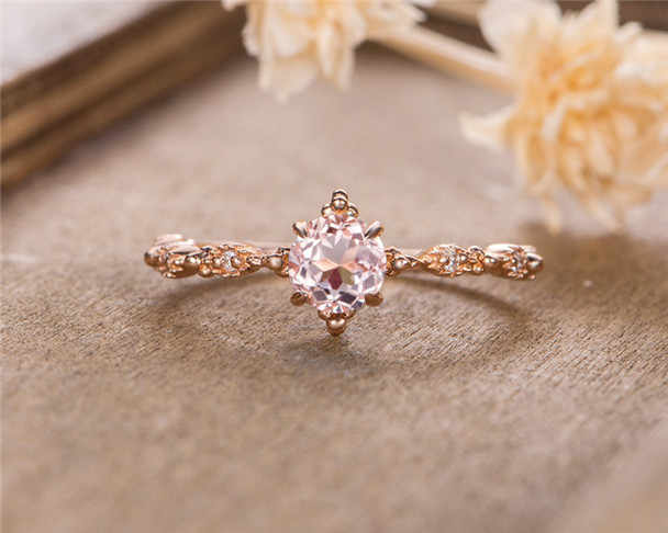 Morganite Engagement Ring Rose Gold Art Deco Vintage Diamond Unique Promise Ring Bridal Ring