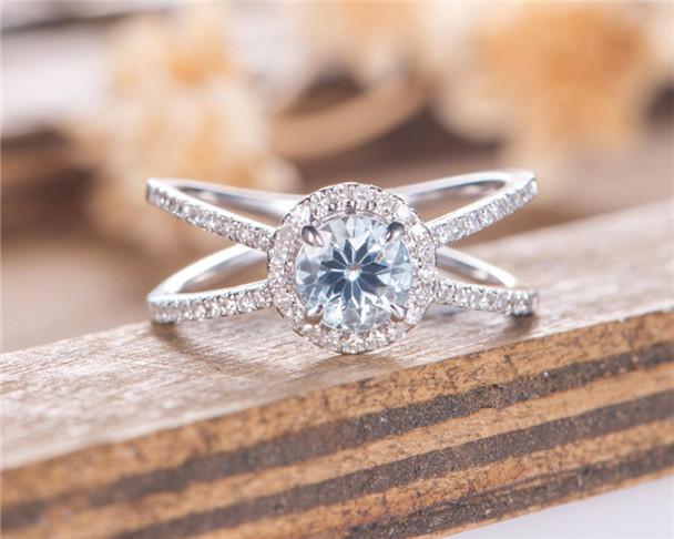 Aquamarine Engagement Ring Rose Gold Halo Diamond Bridal Ring Split Shank Double Band Unique Antique Wedding Ring