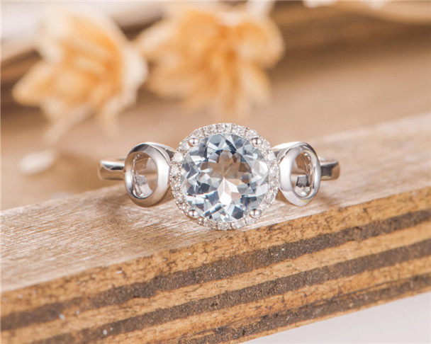 Aquamarine Engagement Ring Halo Diamond Half Eternity Band White Gold Women Bridal Promise Ring Birthstone Gift