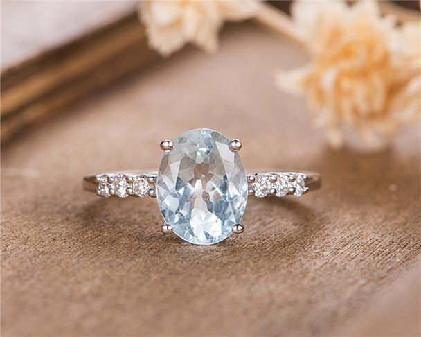 White Gold Aquamarine Engagement Ring Bridal Ring Solitaire Oval Cut Half Eternity Diamond Simple Wedding Ring