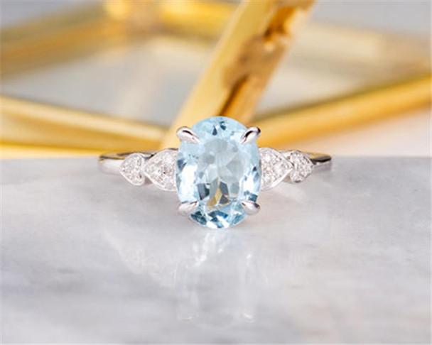Oval Cut Aquamarine Engagement Ring White Gold Bridal Ring Half Eternity Diamond Heart Shaped Women Anniversary