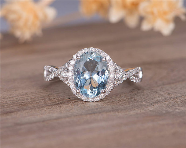 White Gold Aquamarine Engagement Ring Bridal Ring Halo Diamond Infinity Half Eternity March Birthstone  Antique Wedding Ring