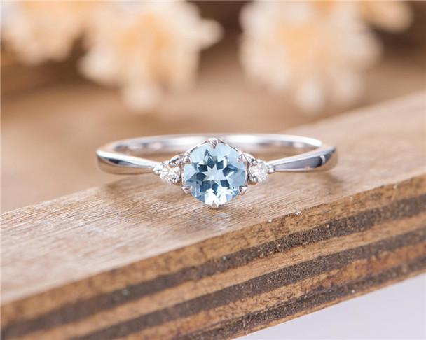 Aquamarine Engagement Ring Three Stone Diamond White Gold Half Eternity Wedding Promise Ring Bridal Anniversary Gift