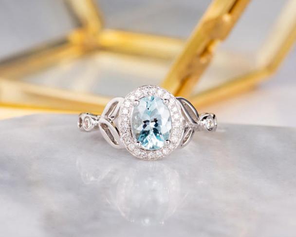 Aquamarine Engagement Ring Bridal Ring White Gold Halo Diamond Oval Cut Half Eternity Simple Women Anniversary Ring Gift