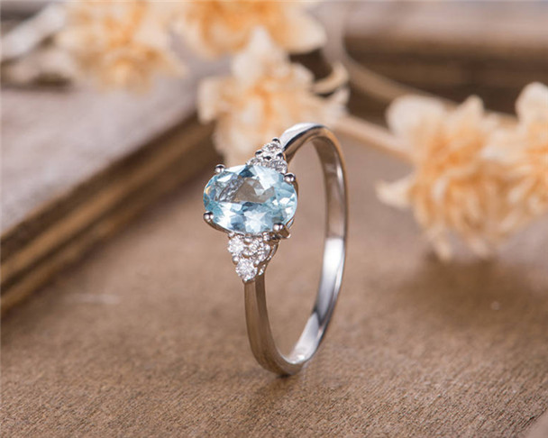 Oval Cut  Aquamarine Engagement Ring White Gold Bridal Ring Solitaire Simple Women Anniversary Antique Wedding