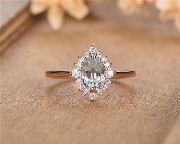 Rose Gold Aquamarine Engagement Ring Oval Cut Moissanite Halo Eternity Unique Bridal Wedding Ring Promise Anniversary Ring