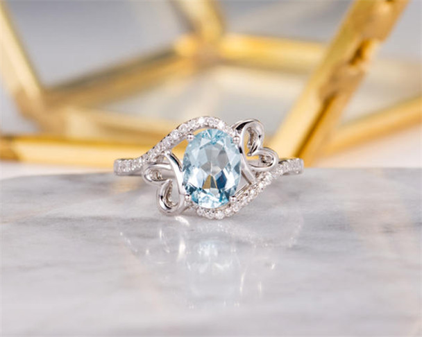 White Gold Aquamarine Engagement Ring Bridal Ring Butterfly Diamond Curved Shaped March Birthstone Women Anniversary Antique Wedding