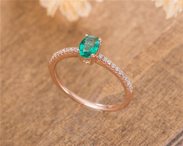 Natural Emerald Engagement Ring Rose Gold Oval Cut Diamond Wedding Ring Anniversary Gift For Women