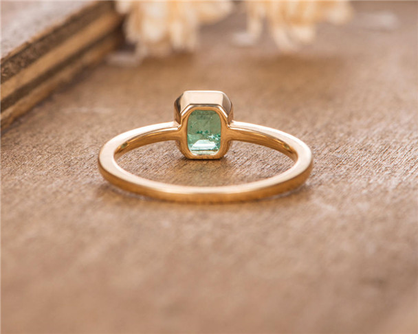 Lab Emerald Engagement Emerald Cut Bezel Set Bridal Ring Gift For Women Birthstone May Yellow Gold