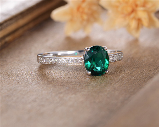 Lab Emerald Engagement Ring White Gold Anniversary Gift For Her Diamond Simple Classic