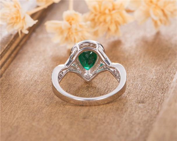 Pear Shaped Lab Emerald  White Gold Halo Diamond Bridal Birthstone May Wedding Ring Anniversary Ring