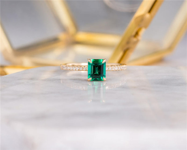 Lab Emerald Engagement Ring Emerald Cut Bridal Anniversary Gift For Women Birthstone May Yellow Gold