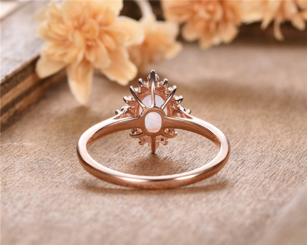Oval Cut Lab Emerald Engagement Ring Rose Gold Moissanite Promise Anniversary Gift For Women