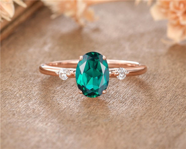 Lab Emerald Engagement Ring Rose Gold Oval Cut Birthstone Promise Women Anniversary Gift