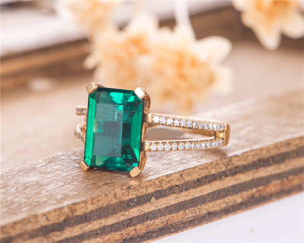 Lab Emerald Emerald Cut Bridal Ring Anniversary Gift For Women Birthstone May Yellow Gold