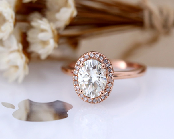 6*8mm Oval Cut Forever One(GHI)Moissanite Engagement Ring Solid 14K Rose Gold Brilliant Moissanite Ring