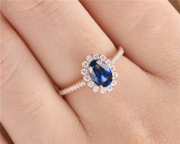 Oval Cut Lab Sapphire Engagement Ring Rose Gold Half Eternity Wedding Ring Bridal Antique