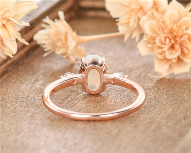 Lab Sapphire Rose Gold Oval Cut Diamond Wedding Birthstone Promise Anniversary Gift