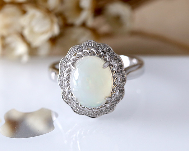 Oval Cut Opal Engagement Ring White Gold Bridal Cluster October Birthstone Diamond Ring