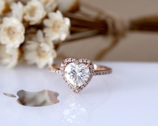 7mm Heart Cut Charles & Colvard Moissanite Engagement Ring Solid 14K Rose Gold Moissanite Ring Wedding Ring